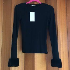 Zara Fur Cuff Long Sleeve Top